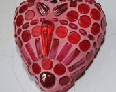 Ruby Red Beaded Valentine Heart Token Paperweight  MOO5086