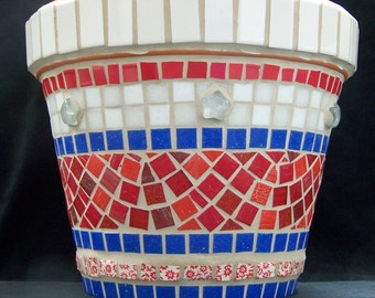 Red, White and Blue Americana Mosaic Flower Pot
