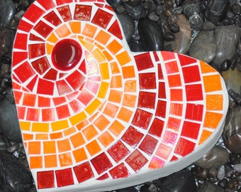 Red Hot Heart Mosaic Stepping Stone