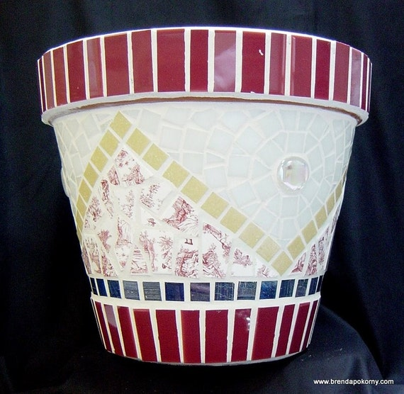 Stratford Burgundy, White and Blue Mosaic Flower Pot