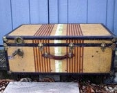 Chief Vintage Tweed Steamer Trunk by Oshkosh