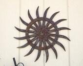 Rusty Industrial Farm Tiller Wheel