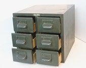 Library Card Catalog 6 Drawer Wood Cabinet