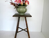 Vintage Bamboo Side Table / Shabby Chic Table / Plant Stand