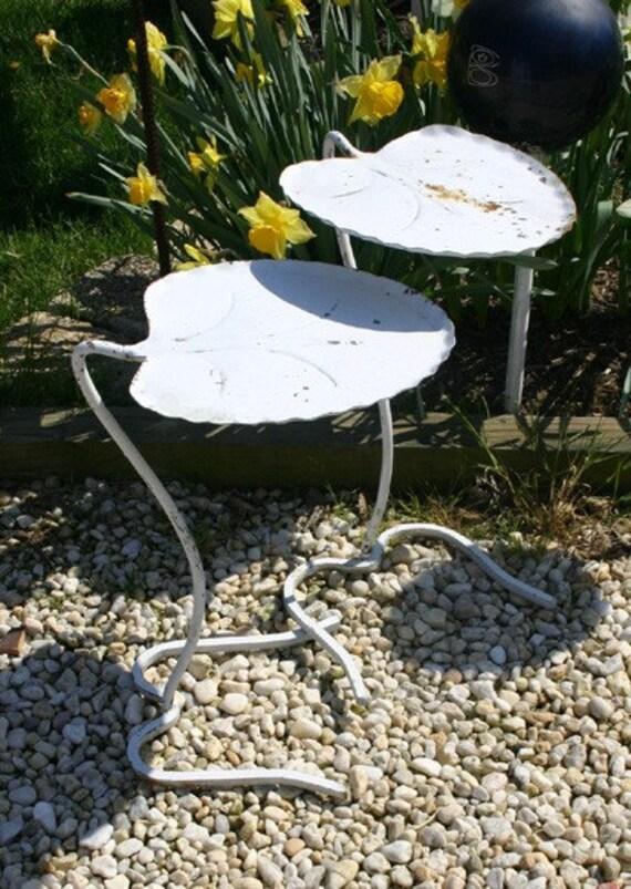 Outdoor Nesting Tables ~ Vintage funky outdoor metal leaf nesting side tables