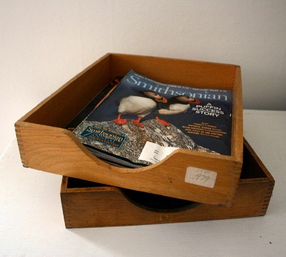 Pair Vintage Wood In Out File Trays