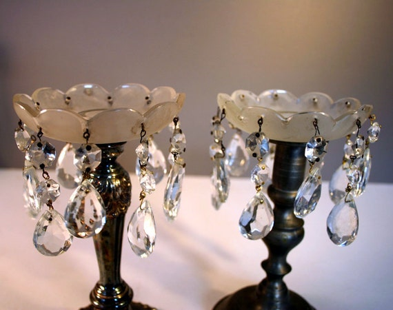 Vintage Candle Bobeche Pair With Chandelier By