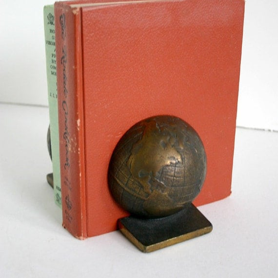 Bronze World Globe Bookends