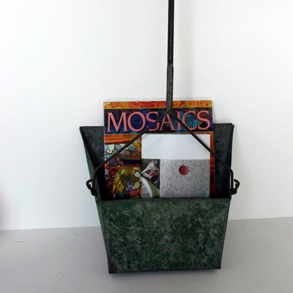 Galvanized Dust Pan or Industrial Chic Magazine Rack