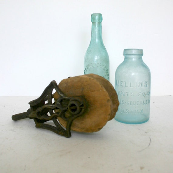 Wood Block and Tackle Pulley / Industrial Decor Pulley