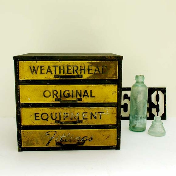 Vintage Parts Cabinet by Weatherhead / Industrial Decor