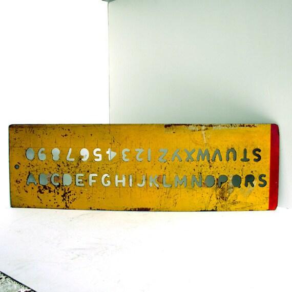 Vintage Alphabet Stencil /  Distressed Wood Sign