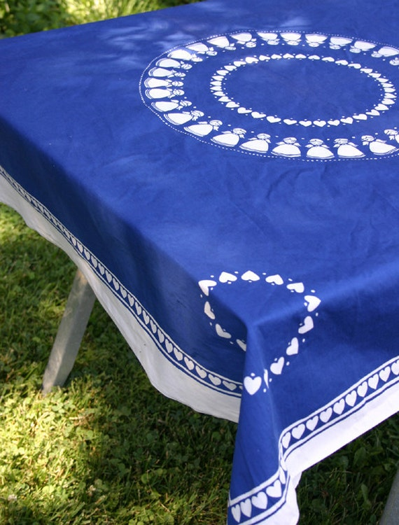 Vintage Blue Cotton Tablecloth Angels and Hearts