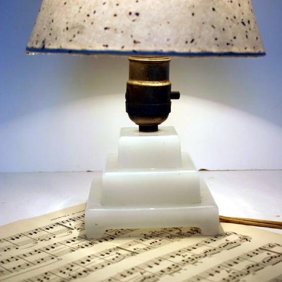 Art Deco Milk Glass Lamp / Small Table Lamp