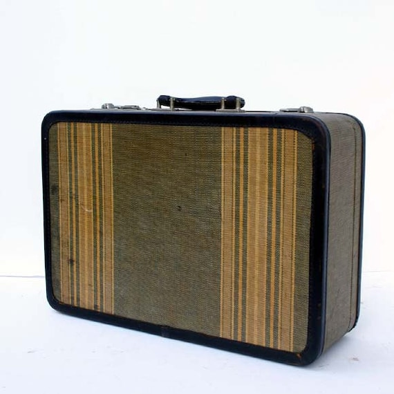 Vintage Tweed Luggage / Striped Tweed Suitcase
