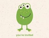 20 Little Monster Postcard Invitations