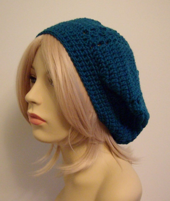 Women's Bonnie Beret Slouch Hat in Acrylic: Green Blue Teal (Adult Sized)