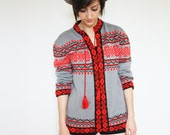 Women's Vintage Gray and Red Fair Isle Cardigan