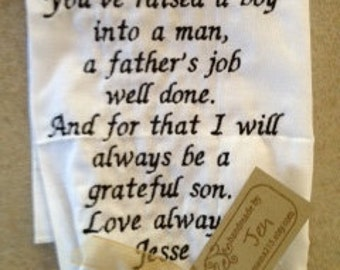 FATHER of the GROOM - SCRIPT Heirloom Personalized Wedding Handkerchief Custom Embroidered