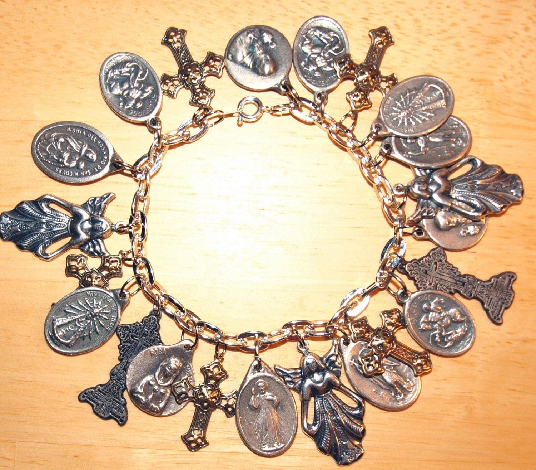 Religious Charm Bracelets: Religious Medal Catholic Charm Bracelet
