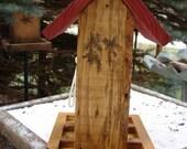 Wren Decorated Hanging Wooden Bird Feeder