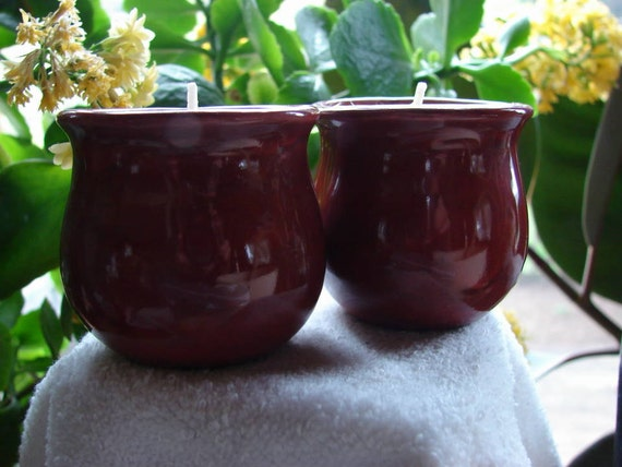Rustic Red Votive Holder Cups with Votives