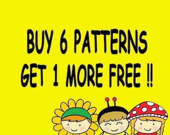 Buy 6 Digital Patterns Get 1 More Free
