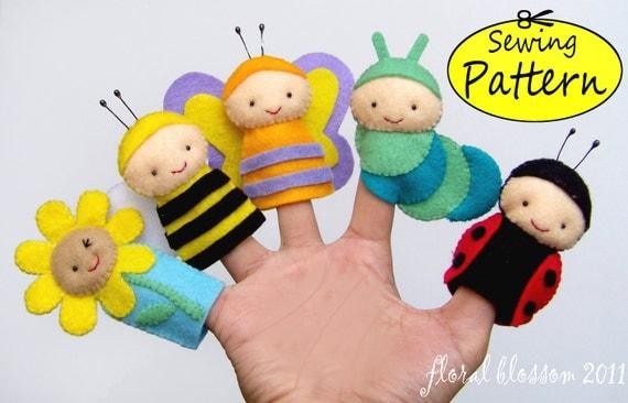 Digital Pattern: Garden Friends Felt Finger Puppets