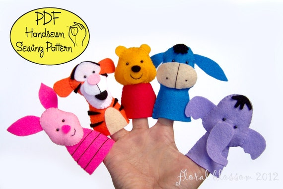 Digital Pattern: Hunny Bear and Friends Felt Finger Puppets