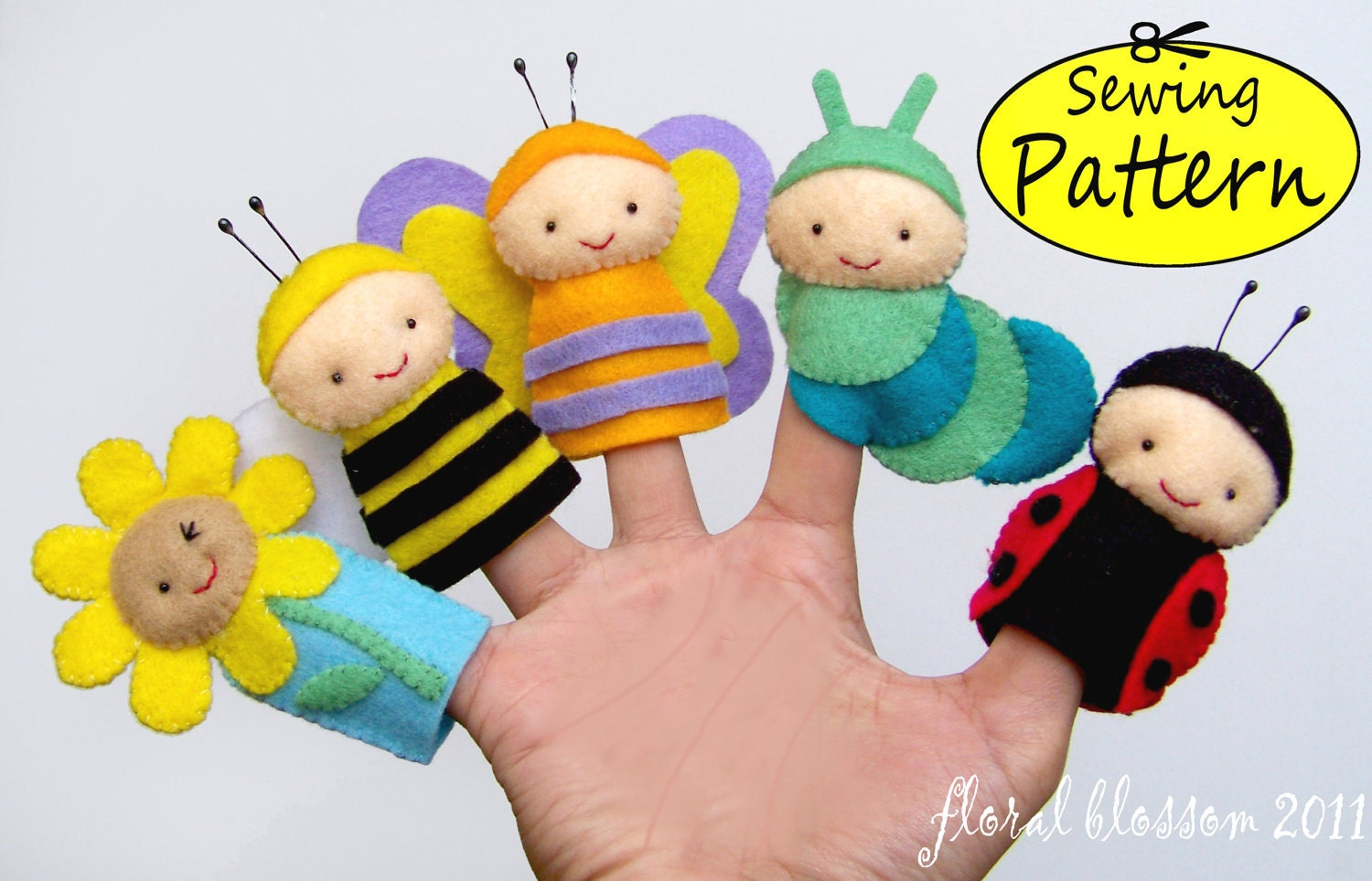 Digital pattern garden friends felt finger puppets for Bee finger puppet template