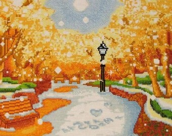 New Finished Completed Cross Stitch - Winter -