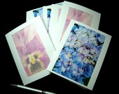 Botanical Art Blank Note Cards, Blue Hydrangea Flower, Spring Purple Pansy, Floral Stationery - Set of 6 with envelopes