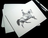Dressage Horse Art Note cards, Equestrian Stationery, Equine Artwork, Greeting Thank You Blank Card - Set of 6 w/ Envelopes