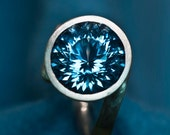 Portuguese Cut Swiss Blue Topaz Argentium Silver Statement Ring