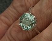 Green Amethyst Alternative Unique Engagement Ring 5.04 Ct Custom Cut Gem