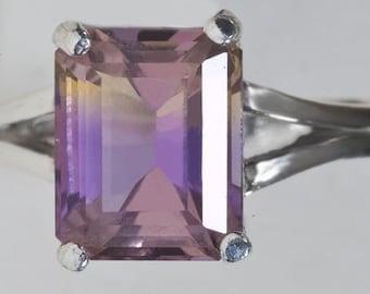 Natural Ametrine  Emerald Cut Sterling Silver Ring