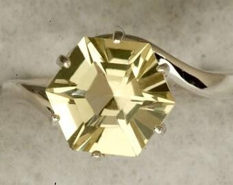 Lemon Quartz 8MM 2.71ct Star Cut Alternative Engagement  Ring, Unique Engagement Ring