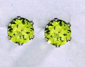 5 or 6MM Round Natural Peridot Sterling Silver Stud Earrings, August Birthstone Studs, 16th Wedding Anniversary Gift