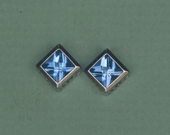 London Blue Topaz 14kt White Gold  2 Carat Pierced Earrings, Topaz Studs, Birthstone earrings, 4th Anniversary gift, Topaz Bezel Studs