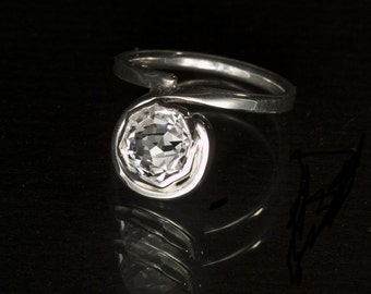 White Sapphire Rose Petal Custom Cut Unique Engagement Ring, Alternative Engagement Ring