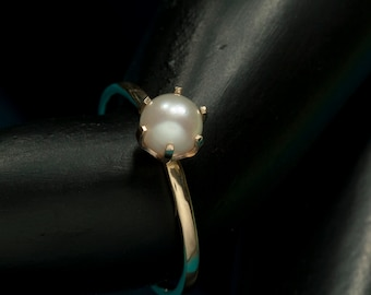 14kt Yellow Gold Cultured Pearl Stacking Ring, June Birthstone Ring
