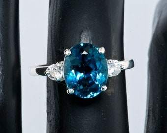London Blue Topaz & White Sapphire Alternative Engagement Ring, Statement Ring, 4th Anniversary gift, Cocktail Ring, Birthstone ring