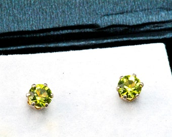 Natural Peridot Studs, August Birthstone earrings, Round Peridot Studs