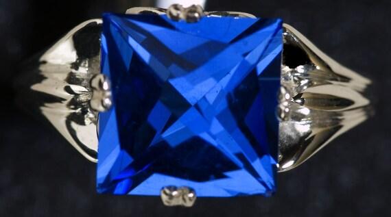 Blue Quartz Custom Lighthouse Cut Sterling Silver Statement Ring