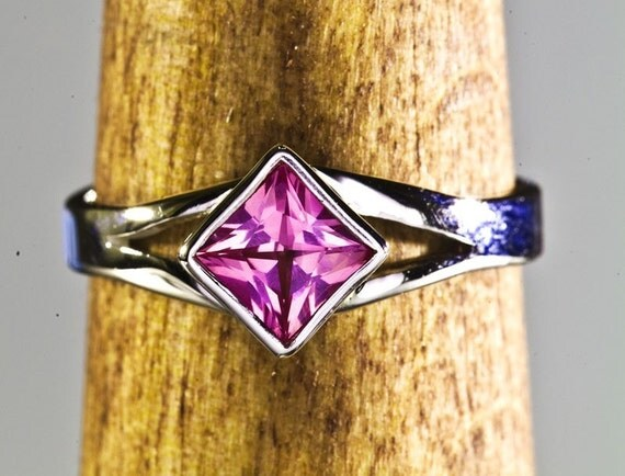 Pink Sapphire Princess Cut Argentium Fine Silver Ring