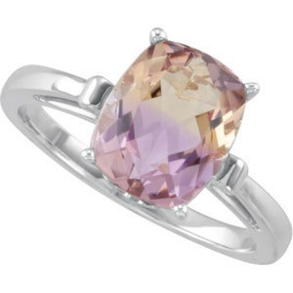 Antique Cushion Cut Ametrine Fluer de Lis Style 14kt White, Yellow or Rose gold ring