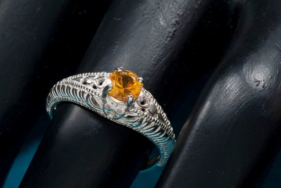 Yellow Sapphire Antique Filigree  Ring with Heart Motif