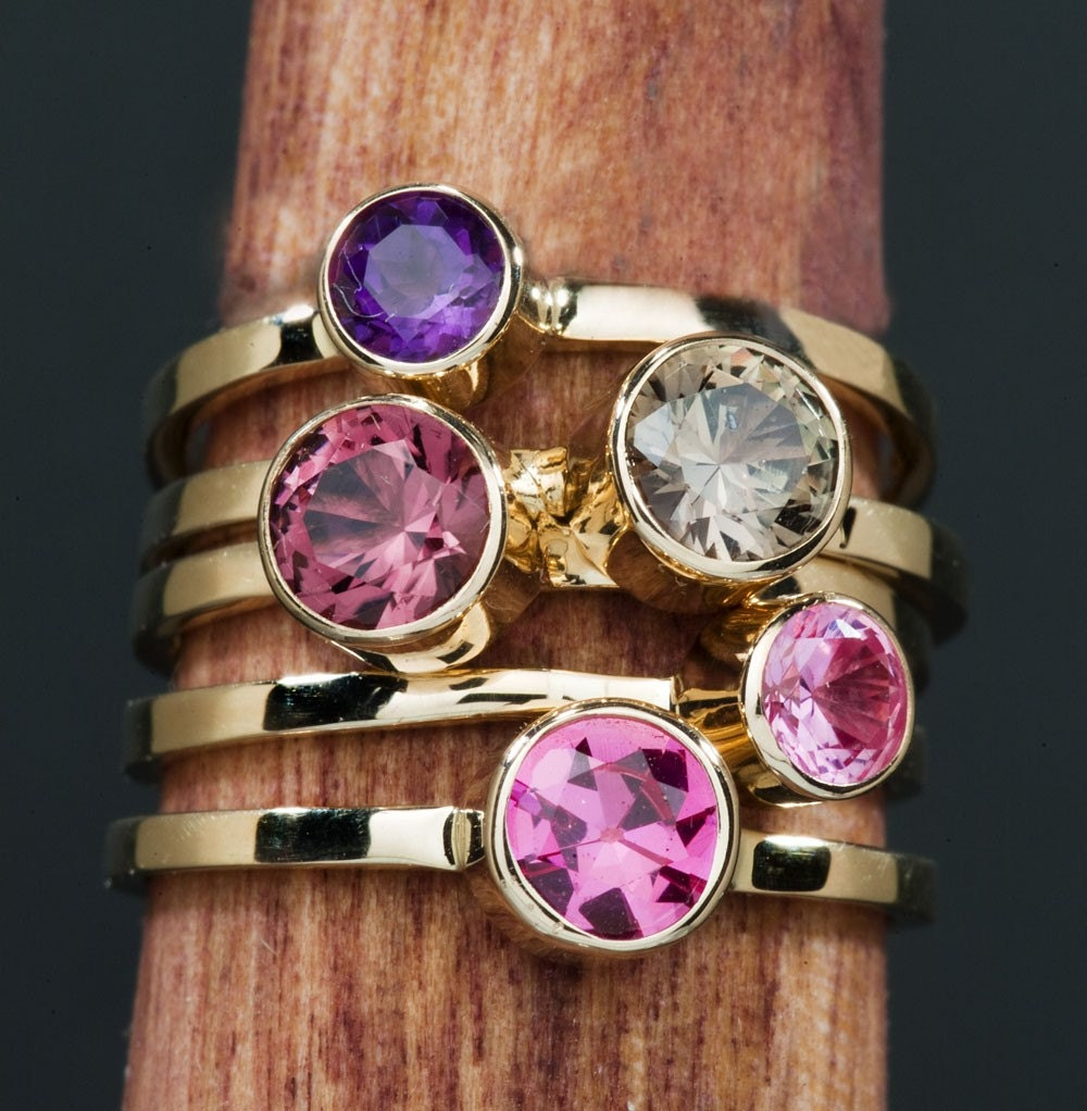 amethyst 14kt gold birthstone stacking ring layering ring. Black Bedroom Furniture Sets. Home Design Ideas
