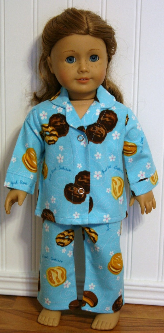 American Girl Doll Clothes Aqua Scout Cookies Flannel Pajamas fit 18inch Doll Clothes