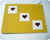 SALE Yellow Notecard with Red Hearts - Blank Inside A2